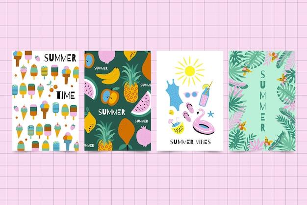 Cartões de verão estilo mão desenhada