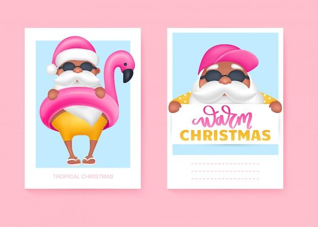 Cartões de verão papai noel. ilustração vetorial natal tropical e feliz ano novo em um design de clima quente.
