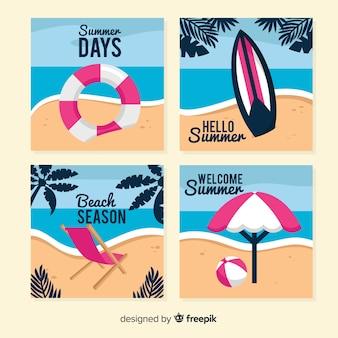 Cartões de verão planos