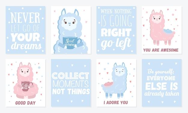 Cartões de vetor com lhamas fofos pôster com objetos adoráveis em cores pastel de fundo