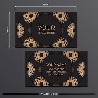 Cartões de visita apresentáveis pretos do modelo. ornamentos decorativos de cartão de visita, padrão oriental, ilustração.