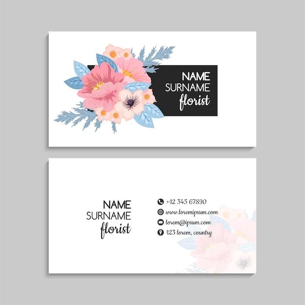 Cartões de visita com flores rosa