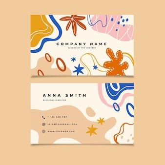 Cartões de visita com formas coloridas desenhadas à mão