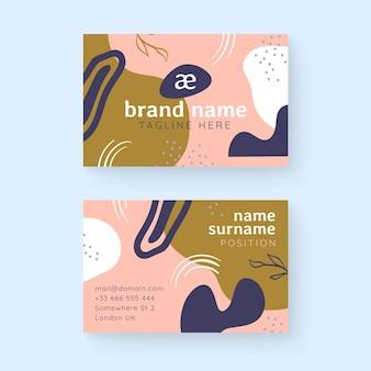 Cartões de visita com formas desenhadas à mão