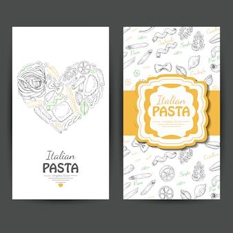 Cartões de visita com massas italianas