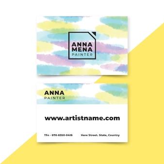 Cartões de visita com modelo de pintados à mão