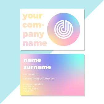 Cartões de visita com modelo gradiente pastel