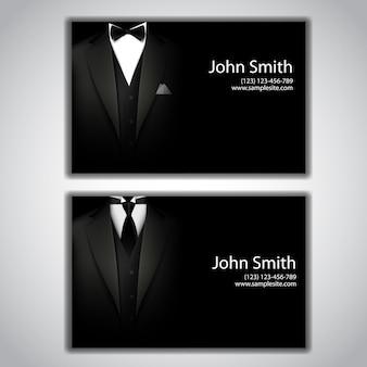 Cartões de visita com terno e smoking elegantes.