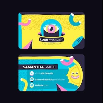 Cartões de visita da moda com design plano desenhado à mão