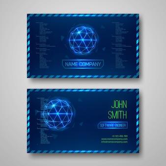 Cartões de visita de design futurista. com elementos abstratos. modelo vetorial