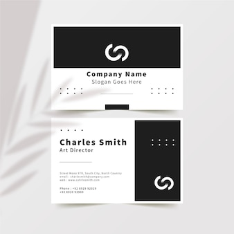 Cartões de visita de design monocromático