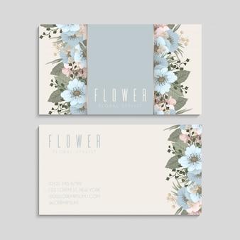 Cartões de visita de flores azul claro