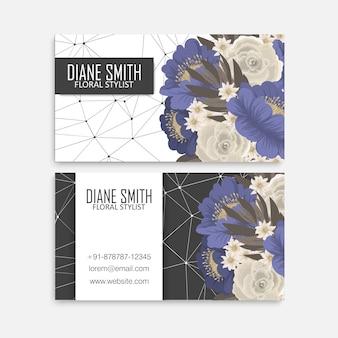 Cartões de visita de flores flores azuis