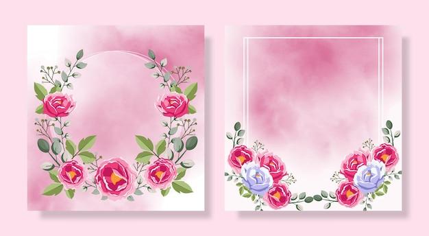 Cartões de visita de flores flores cor de rosa