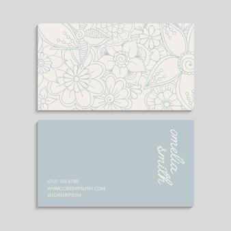 Cartões de visita de flores flores em tons pastel