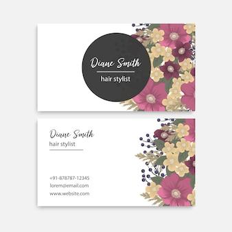 Cartões de visita de flores flores rosa choque