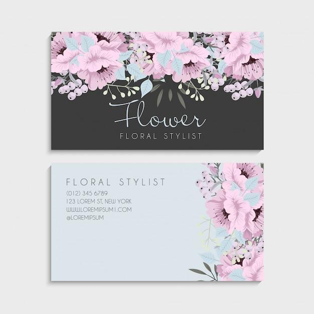 Cartões de visita de flores flores rosa