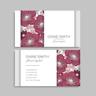 Cartões de visita de flores flores vermelhas