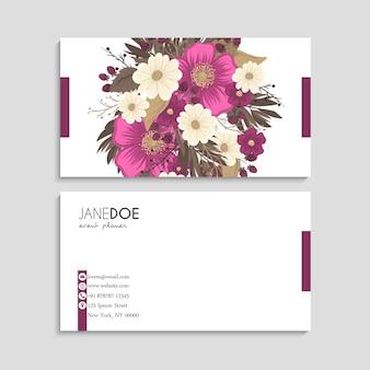 Cartões de visita de flores