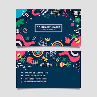 Cartões de visita de formas abstratas desenhadas à mão