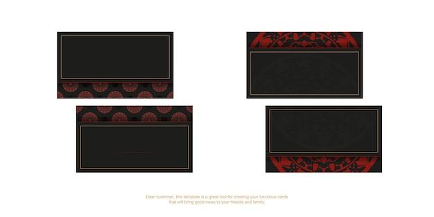 Cartões de visita de vetor com lugar para o seu texto e padrões vintage. design de cartão de visita preto para impressão com padrões de mandala vermelha.