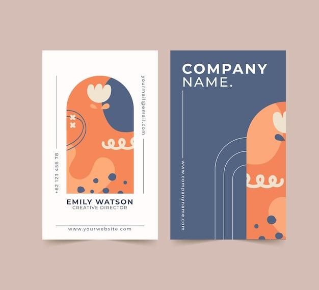 Cartões de visita desenhados à mão com formas planas e abstratas