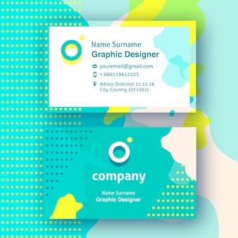 Cartões de visita divertidos com formas abstratas amarelas e verdes