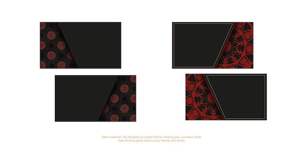 Cartões de visita elegantes com espaço para o seu texto e padrões vintage. vector design de cartão de visita preto pronto para imprimir com padrões de mandala vermelha.