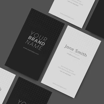 Cartões de visita em preto e branco