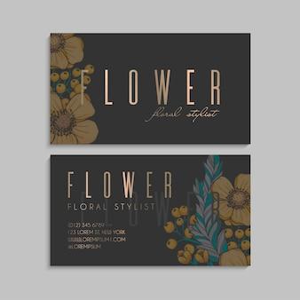Cartões de visita flor amarela flores