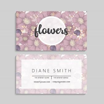 Cartões de visita flor flores pastel