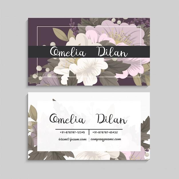 Cartões de visita flor rosa flores