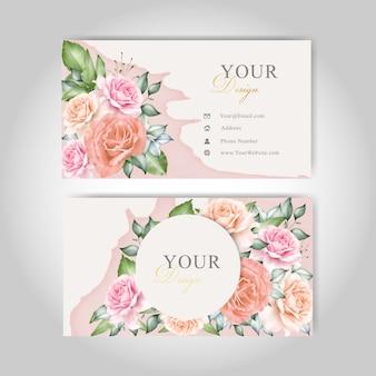 Cartões de visita florais em aquarela