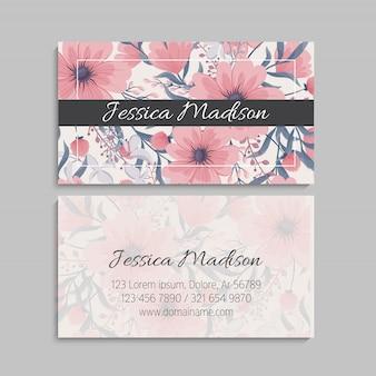Cartões de visita florais rosa flores