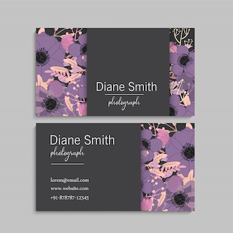 Cartões de visita flores roxas