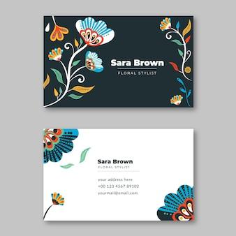 Cartões de visita horizontais coloridos desenhados à mão