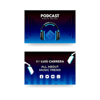 Cartões de visita horizontais de podcast plano