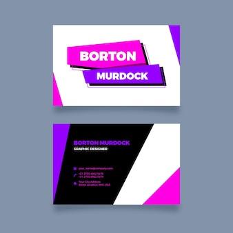 Cartões de visita minimalistas de néon
