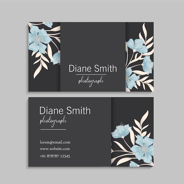 Cartões de visita modelo flores azuis. frente e verso