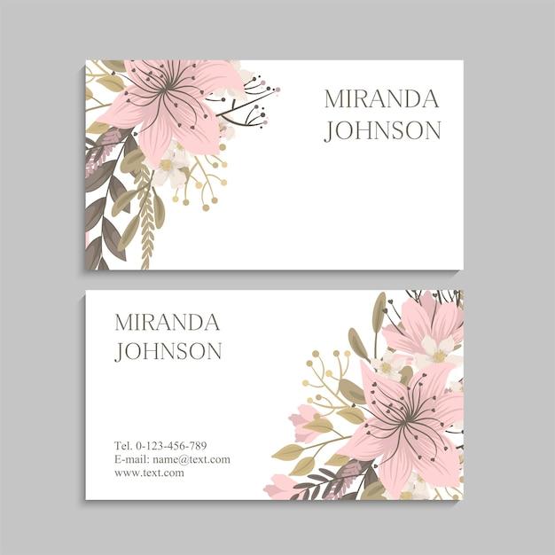 Cartões de visita modelo flores cor de rosa. frente e verso