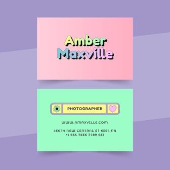 Cartões de visita nostálgicos dos anos 90 com design plano