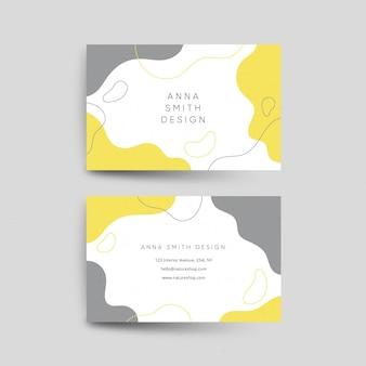 Cartões de visita orgânicos amarelos e cinza