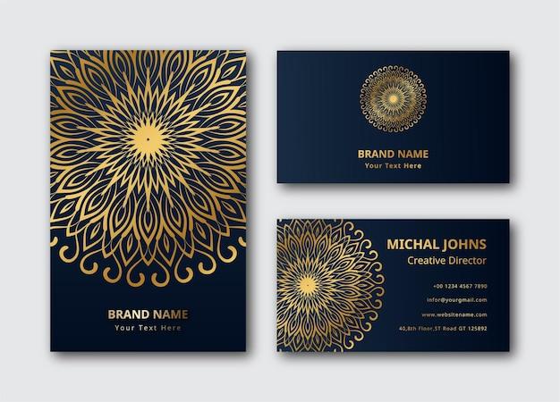 Cartões de visita ouro com flor oriental mandala decoração dourada fundo de vetor premium