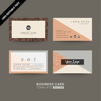 Cartões de visita para café ou empresa com texto editável