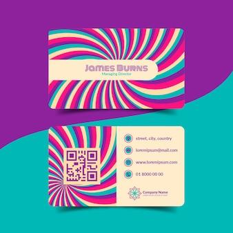 Cartões de visita psicodélicos descolados desenhados à mão