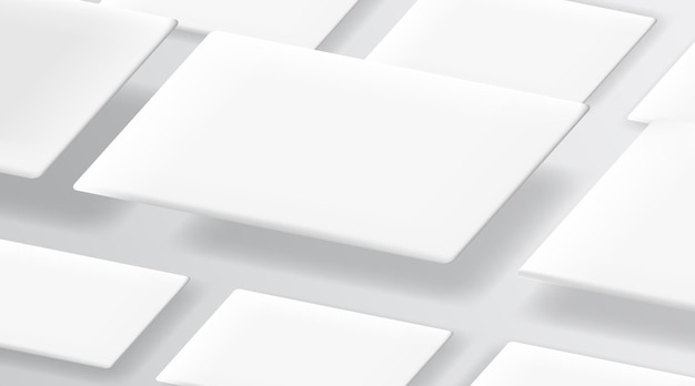 Cartões de visita realistas no modelo de fundo branco.
