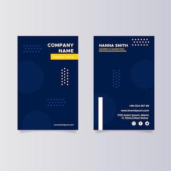 Cartões de visita verticais de design plano