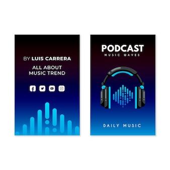 Cartões de visita verticais de podcast plano