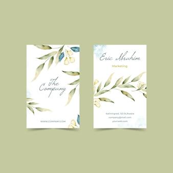 Cartões de visita verticais florais em aquarela