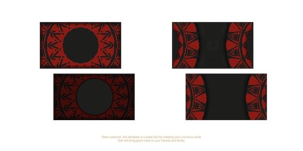 Cartões de visita vetoriais com espaço para o seu texto e padrões vintage. design de cartão preto para impressão com padrões vermelhos gregos.